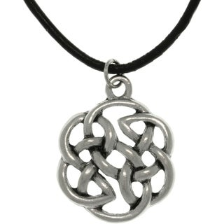 Pewter Unisex Celtic Shield of Destiny Black Cord Necklace