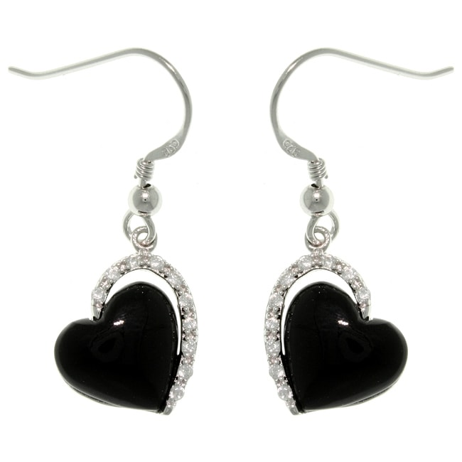 Carolina Glamour Collection Sterling Silver Black Enamel Cubic Zirconia Heart Dangle Earrings - Thumbnail 0