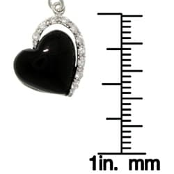Carolina Glamour Collection Sterling Silver Black Enamel Cubic Zirconia Heart Dangle Earrings - Thumbnail 2