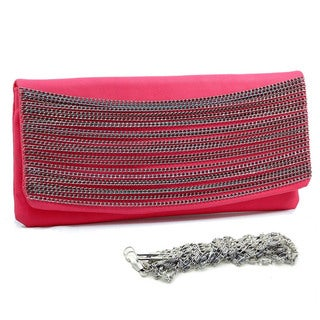 Dasein Chain Metal Faux Leather Clutch