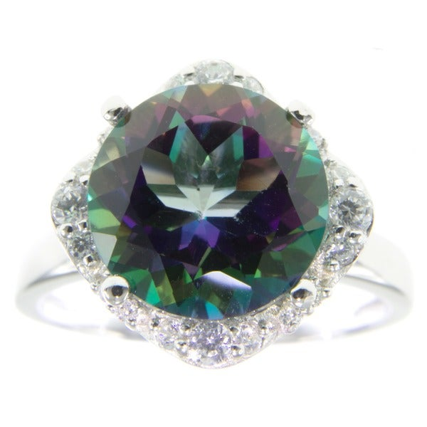 Mystic Green Topaz and Cubic Zirconia Fashion Ring