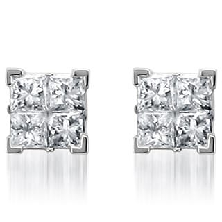 Montebello 14k White Gold 1ct TDW Diamond Princess Stud Earrings (I-J, I2)