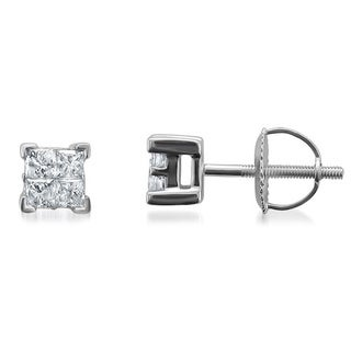 Montebello 14k White Gold 1/2ct TDW Diamond Princess Stud Earrings