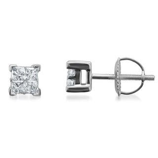 Montebello 14k White Gold 1/2ct TDW Diamond Princess Stud Earrings|https://ak1.ostkcdn.com/images/products/6496201/P14086575.jpg?impolicy=medium