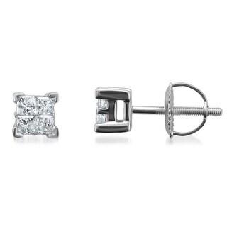 Montebello 14k White Gold 1/2ct TDW Diamond Princess Stud Earrings