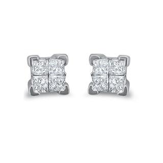 Montebello 14k White Gold 1/4ct TDW Diamond Princess Stud Earrings