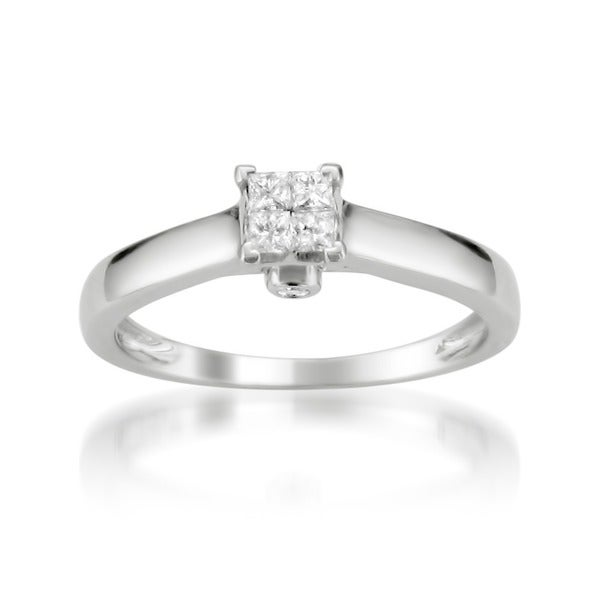 Montebello 10k White Gold 1/4ct TDW Diamond Multi Stone Solitaire Ring