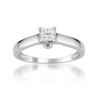 Montebello 10k White Gold 1/4ct TDW Diamond Multi Stone Solitaire Ring
