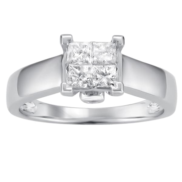 Montebello 14k Gold 1/3ct TDW Princess Cut Diamond Composite Solitaire Ring