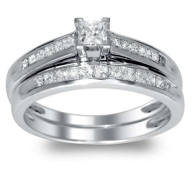 Montebello 14k White Gold 3/4ct TDW Princess Cut Diamond Bridal Set (H-I, I1)