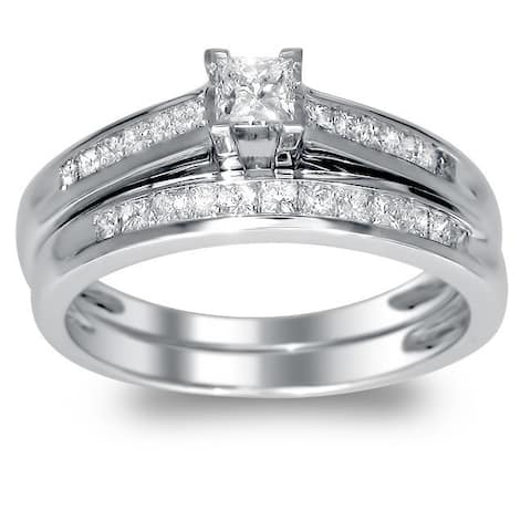 Montebello 14k White Gold 1/2ct TDW Princess-cut Diamond Bridal Set