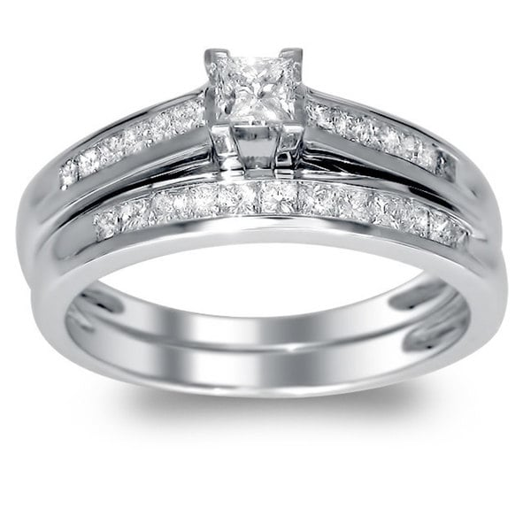 Montebello 14k Gold 1/2ct TDW Princess-cut Diamond Bridal Ring Set