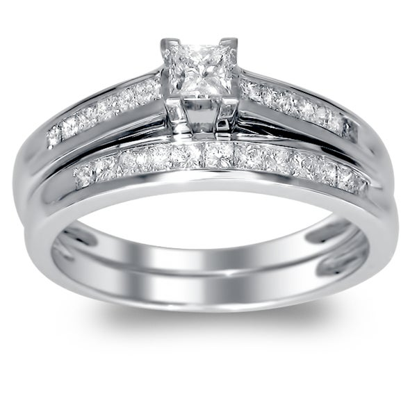 Montebello 14k Gold 1/2ct TDW Princess-cut Diamond Bridal Ring Set (I-J, I1-I2)