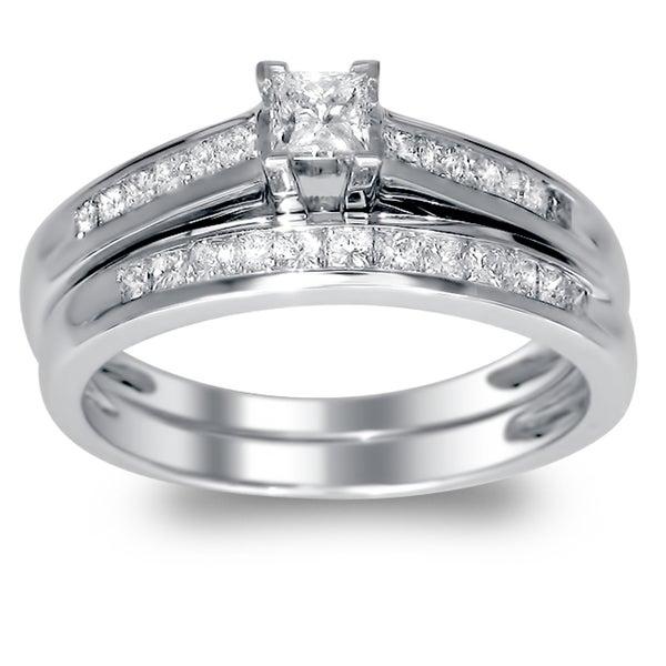 Montebello 14k Gold 1/2ct TDW Princess-cut Diamond Bridal Ring Set