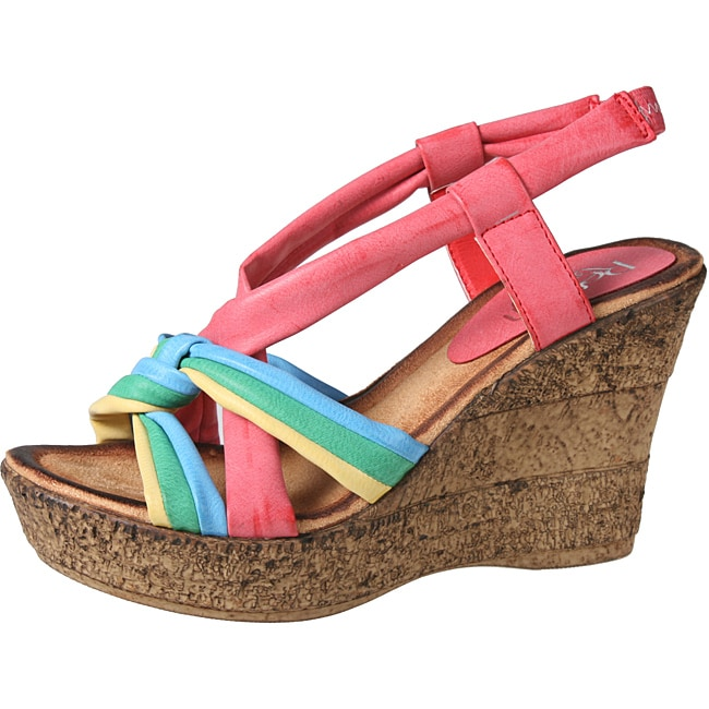 Refresh by Beston Women's 'CABY-05' Fuschia Sling-Back Wedge Sandals - Thumbnail 0