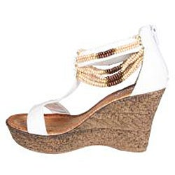 Refresh by Beston Women's White 'CABY-03' T-strap Wedge Sandals - Thumbnail 1