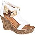 Refresh by Beston Women's White 'CABY-03' T-strap Wedge Sandals