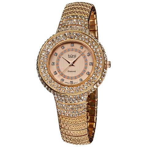 Burgi Women's Diamond-Accent-and-Crystal Water-Resistant Fashion Rose-Tone Watch