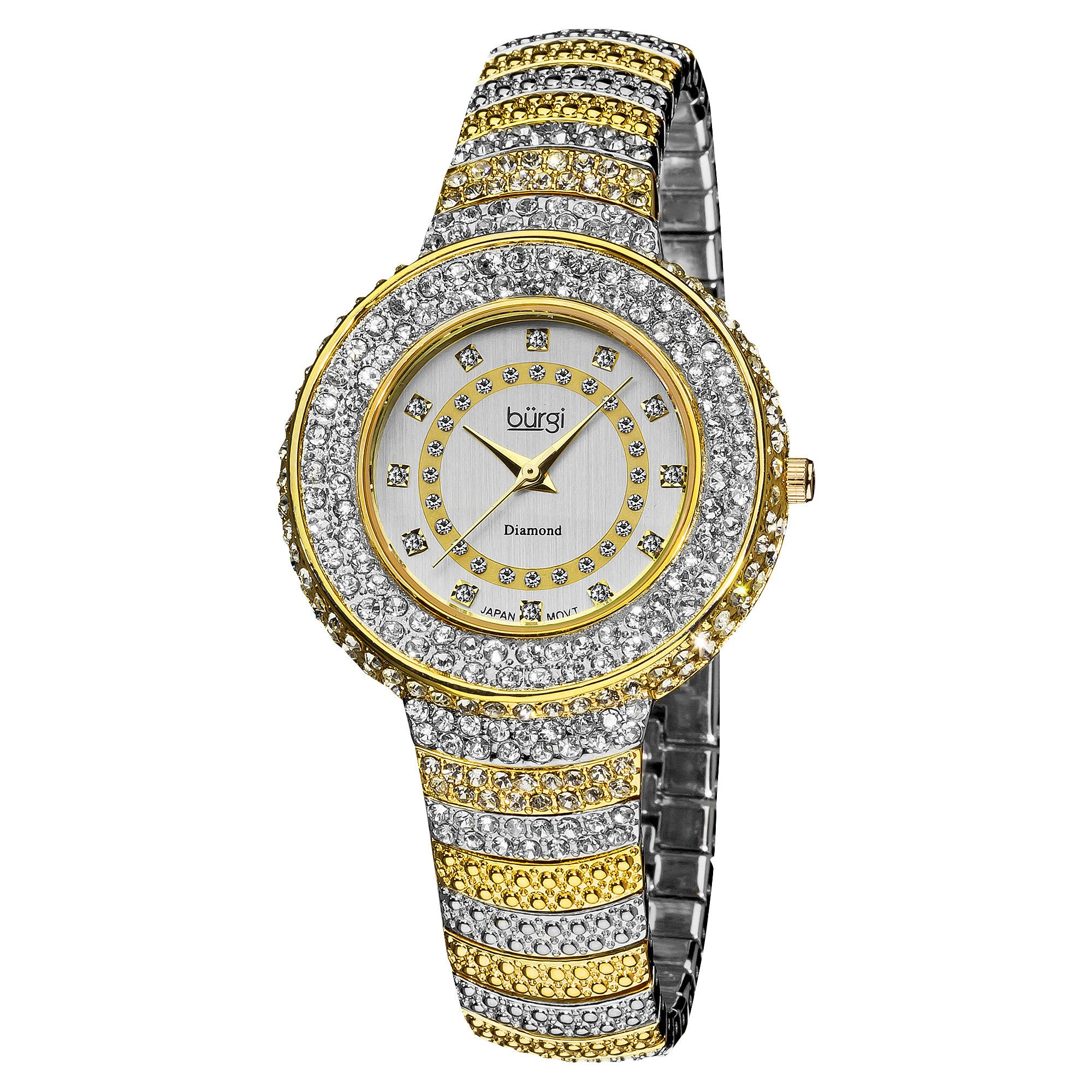 Burgi Women S Diamond And Crystal Accented Bracelet Watch