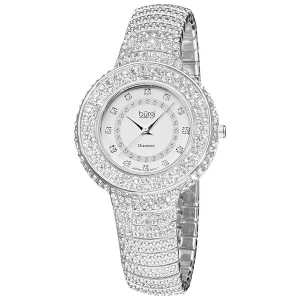 Burgi Women's Diamond and Crystal-Accented Bracelet Watch with FREE Bangle
