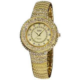 Burgi Women's Diamond And Crystal-Accented Gold-Tone Bracelet Watch