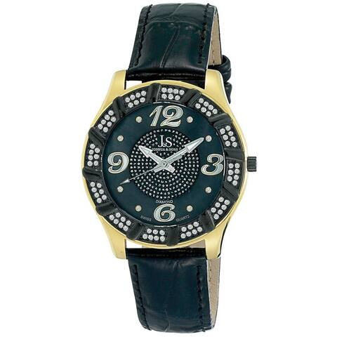 Joshua & Sons Men's Swiss Quartz Diamond Swirl Gold-Tone Watch