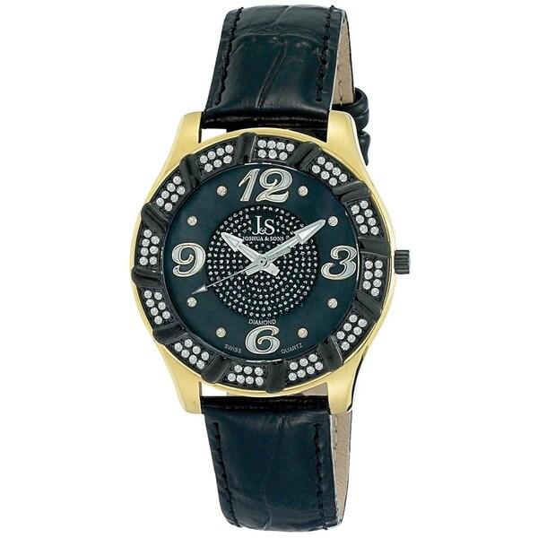 Joshua & Sons Men's Swiss Quartz Diamond Swirl Gold-Tone Watch