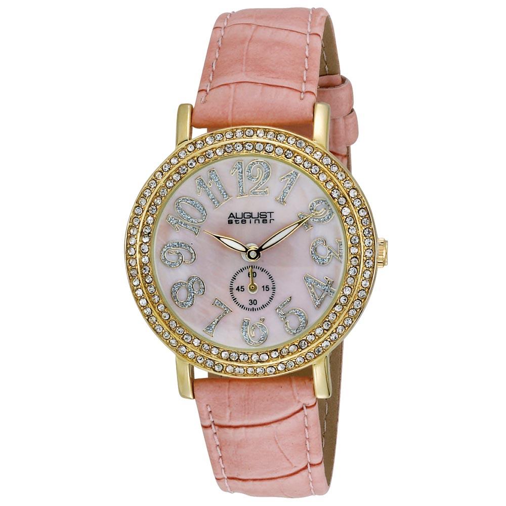 August Steiner Women's MOP Crystal Quartz Strap Watch