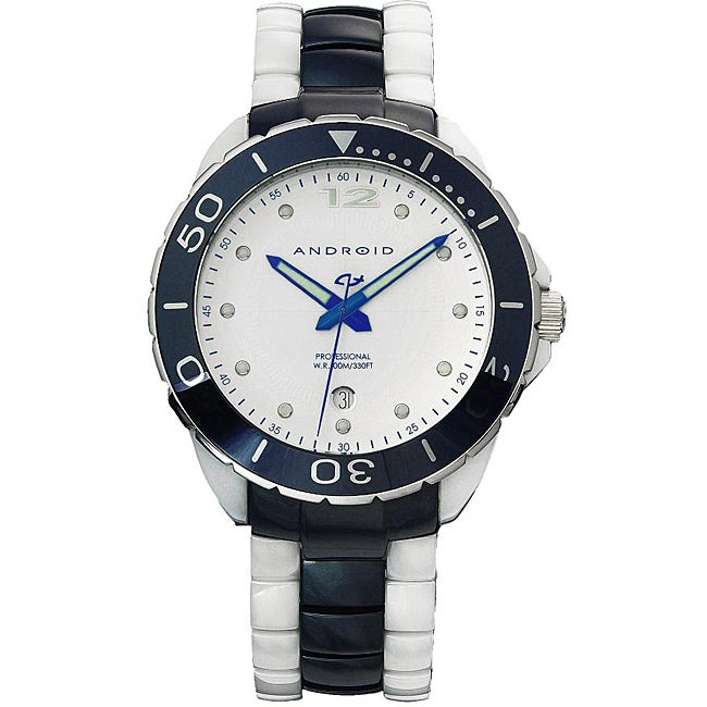 Android Men's 'Exotic' White/ Blue Ceramic Bracelet Watch