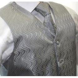Ferrecci Men's Two-tone Grey 4-piece Vest Set - Thumbnail 2