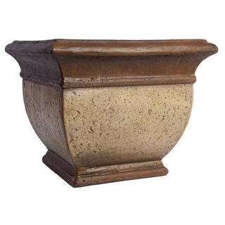 SomerTile Mediterranean Stoneware Palermo Cream/Bronze 13-inch Planter