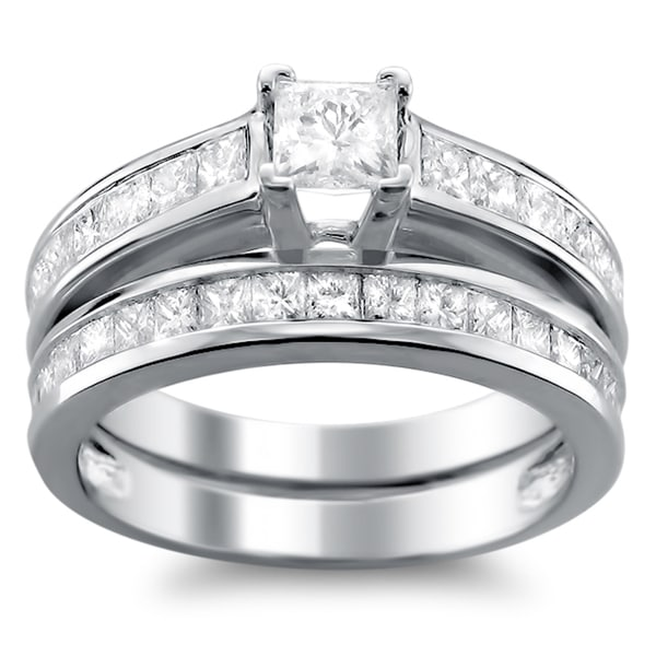 Montebello 14k White Gold 1ct TDW Princess-cut Diamond Bridal Ring Set (H-I, I1)