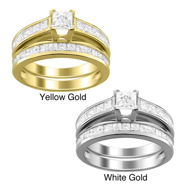 Montebello 14k Gold 2ct TDW Princess-cut Diamond Bridal Ring Set (H-I, I1)