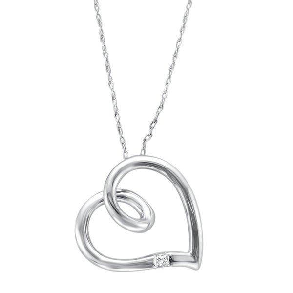 Montebello 10k White Gold Princess-cut Diamond Accent Heart Necklace