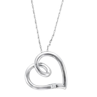 Montebello 10k White Gold Princess-cut Diamond Accent Heart Necklace