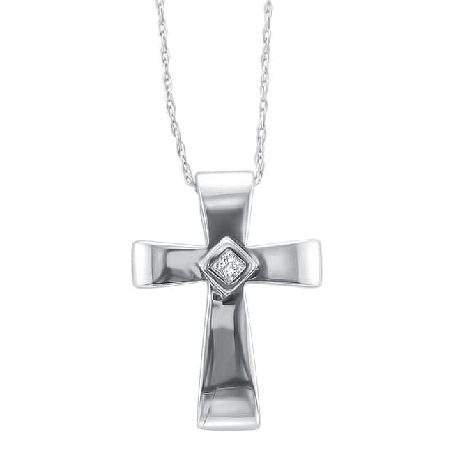 Montebello 10k White Gold Princess-cut Diamond Accent Cross Necklace (IJ, I2)