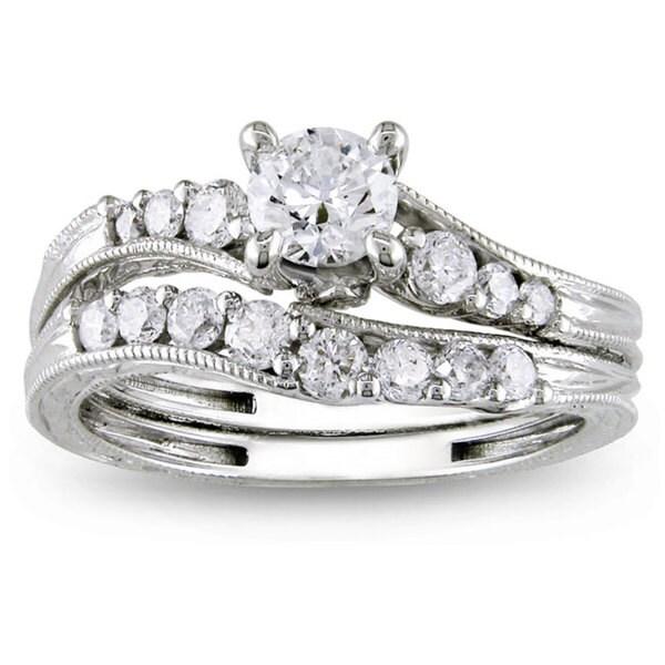 Miadora Signature Collection 14k White Gold 1ct TDW Diamond Bridal Ring Set (G-H, I2-I3)