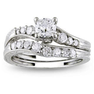 Miadora Signature Collection 14k White Gold 1ct TDW Diamond Bridal Ring Set