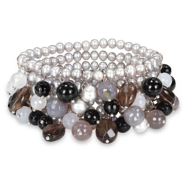 Miadora Multi-colored Gemstones and Pearl Bracelet (5-8 mm)