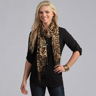Women's Tan/ Brown Giraffe Print Shawl Wrap