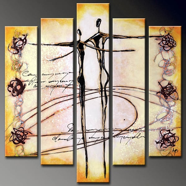shop 39 dancer 39 hand painted 5 piece canvas art set free shipping today 6499698. Black Bedroom Furniture Sets. Home Design Ideas