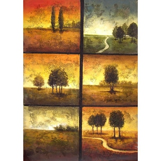 'Summer Day' Hand-painted Gallery-wrapped Canvas Art