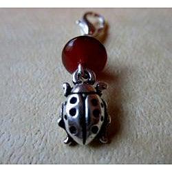 Carnelian and Onyx 'Lady Bug' Charm - Thumbnail 1