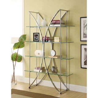 Coaster Company Chrome Etagere with Tempered Glass Shelves