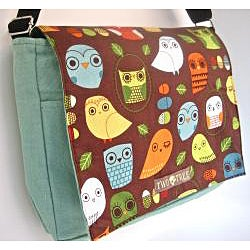 Two Trees Designs Mint Owls Medium Messenger Bag