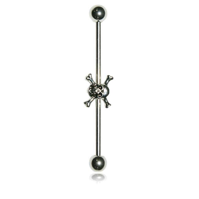 Supreme Jewelry  Surgical Steel Skull Industrial Barbell Earring
