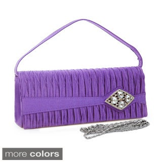 Dasein Satin Rhinestone Brooch Pleated Clutch Handbag