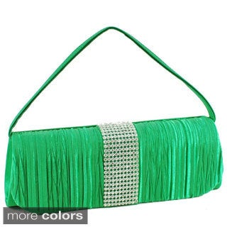 Dasein Satin Rhinestone Pleated Clutch Handbag with Brooch-detail