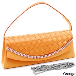 Dasein Satin Rhinestone Detail Clutch Handbag (Option: Orange)