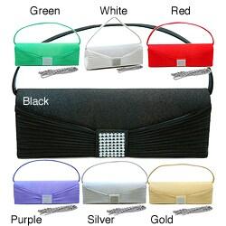 Dasein High-quality Satin Woven Rhinestone Flat-handle Clutch Handbag